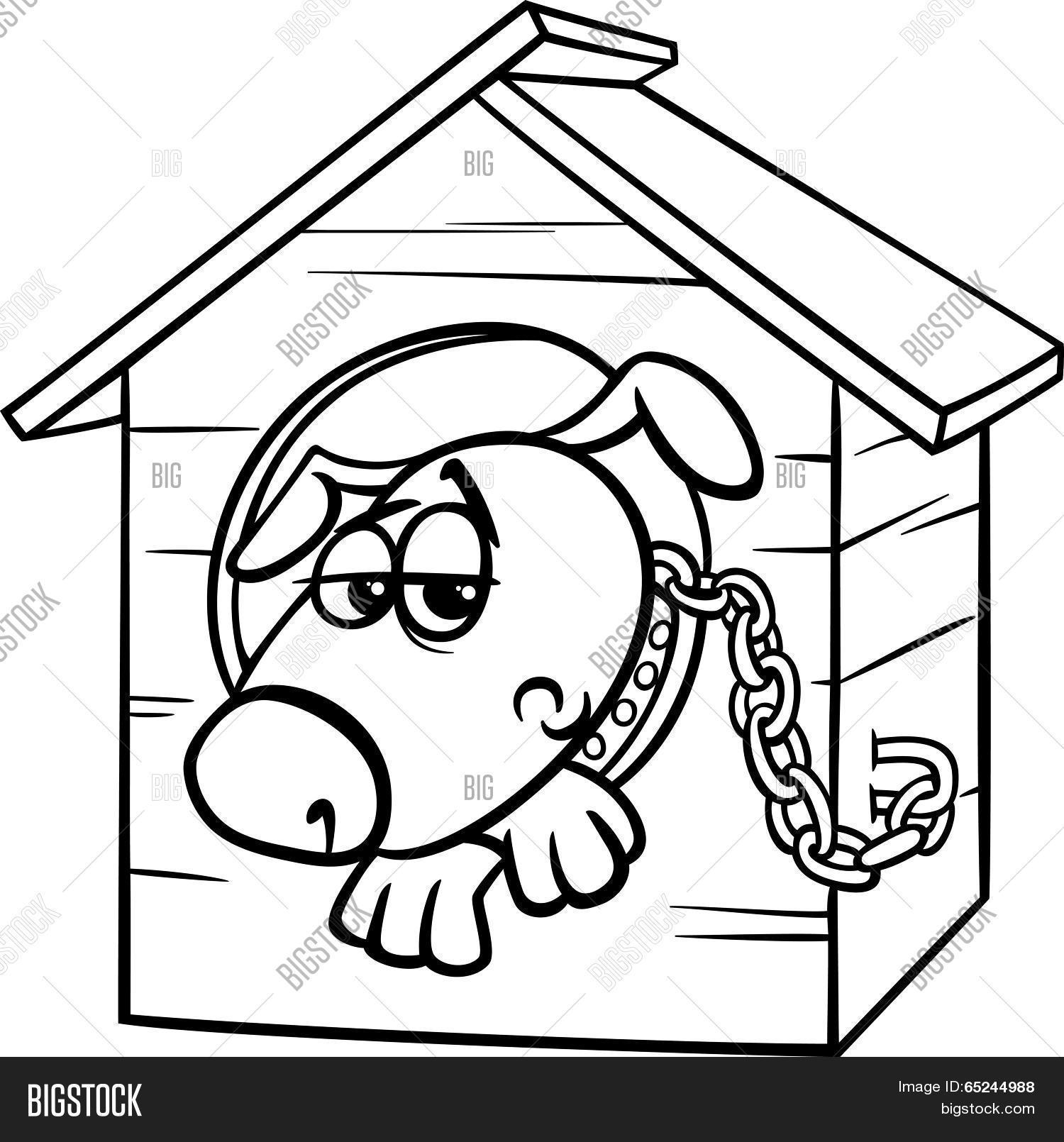 1500x1610 Sad Dog Kennel Coloring Page Vector Amp Photo Bigstock