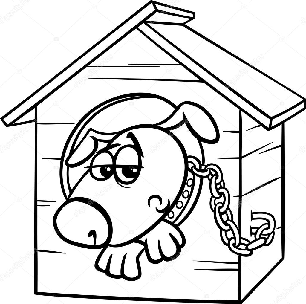1024x1017 Sad Dog In Kennel Coloring Page Stock Vector Izakowski