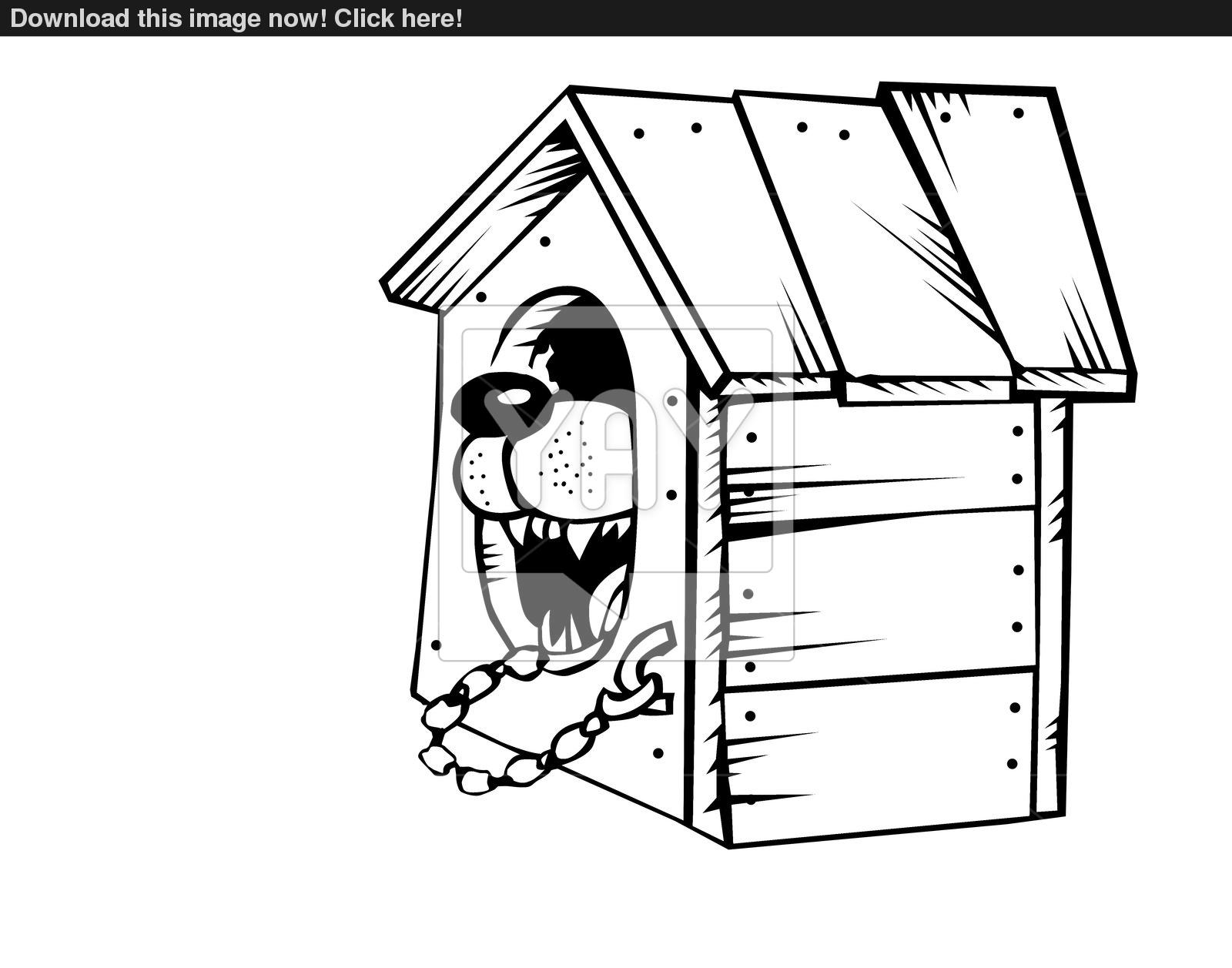 1600x1257 Vector Drawing Of The Dog In Kennel On White Background Image