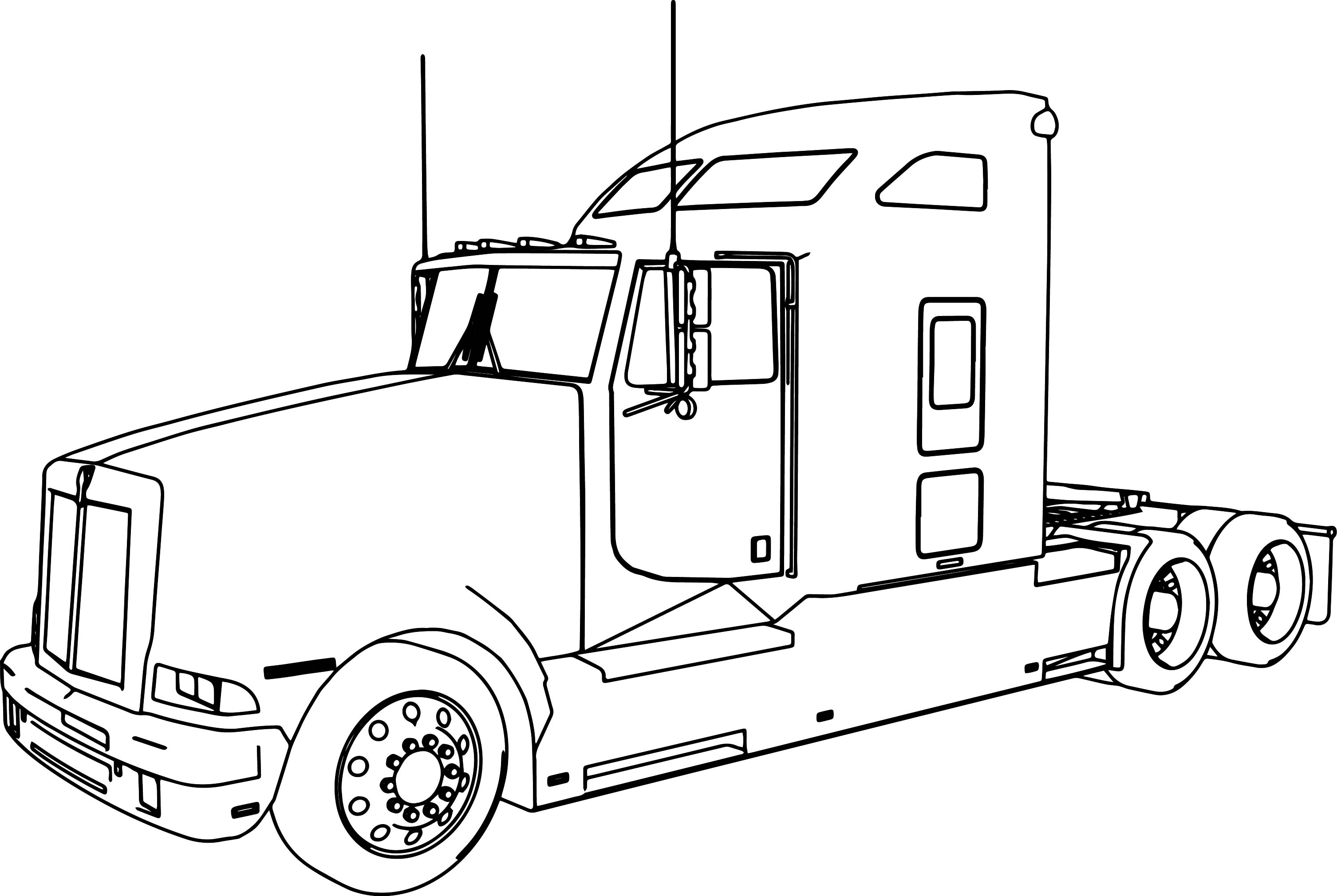 3013x2019 Kenworth T600 Long Trailer Truck Coloring Page Wecoloringpage