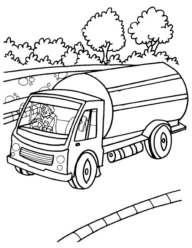612x792 Milk Tank Truck Coloring Page Download Free