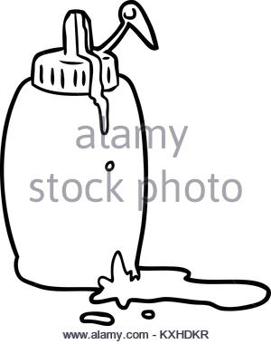 300x380 Drawing Of A Bottle Of Tomato Ketchup Stock Photo, Royalty Free
