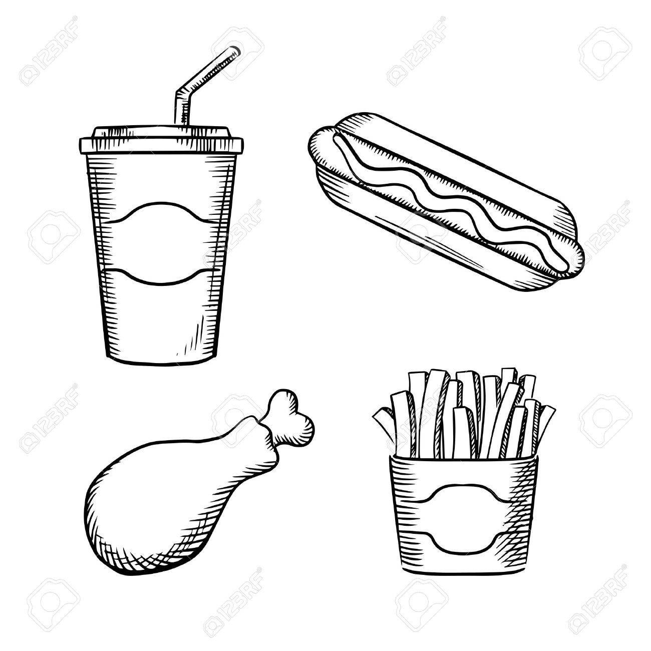 1300x1300 Fast Food French Fries In Paper Box, Hot Dog With Ketchup, Fried