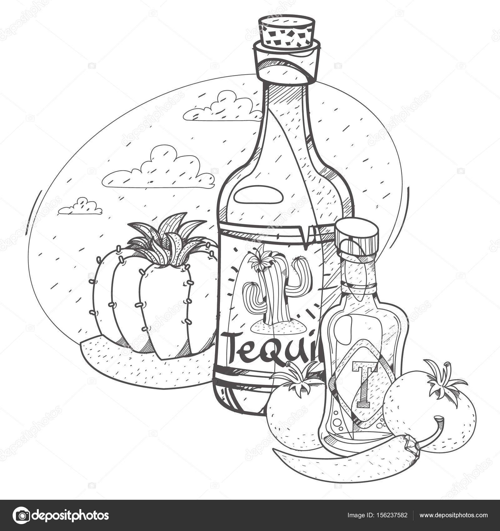 1600x1700 Tomato Ketchup And Tequila. Stock Vector Filkusto