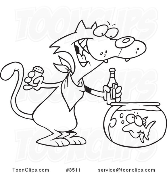 581x600 Cartoon Black And White Line Drawing Of A Cat Seasoning A Goldfish