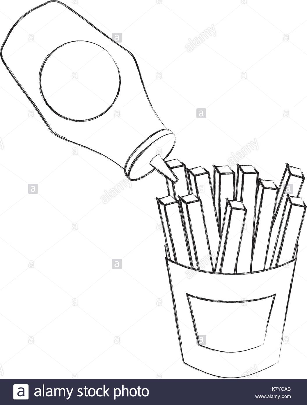1055x1390 French Fries With Ketchup Fast Food Fresh Stock Vector Art