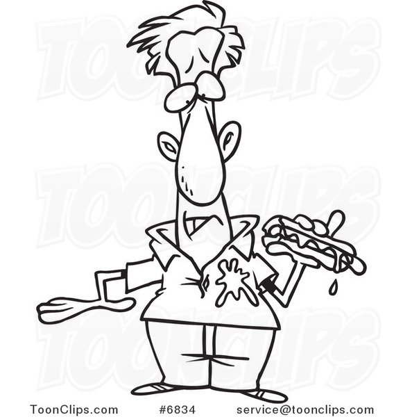 581x600 Cartoon Black And White Line Drawing Of A Guy Dripping Ketchup