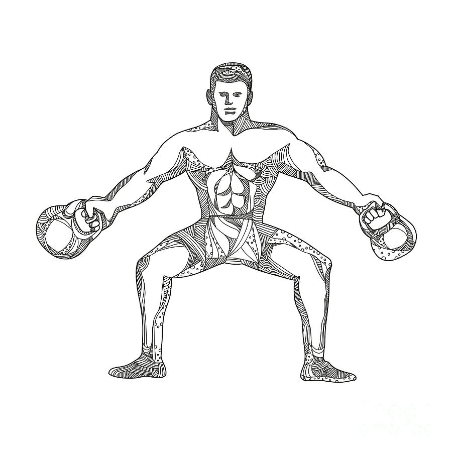 900x900 Fitness Athlete Lifting Kettlebell Doodle Art Digital Art By