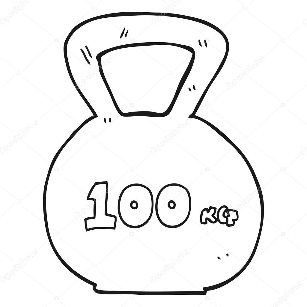 1024x1024 Black And White Cartoon 100kg Kettle Bell Weight Stock Vector