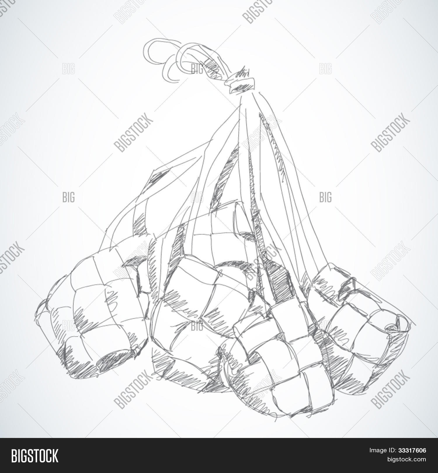1500x1620 Vector Sketched Ketupat Muslim Traditional Rice Dumpling Image