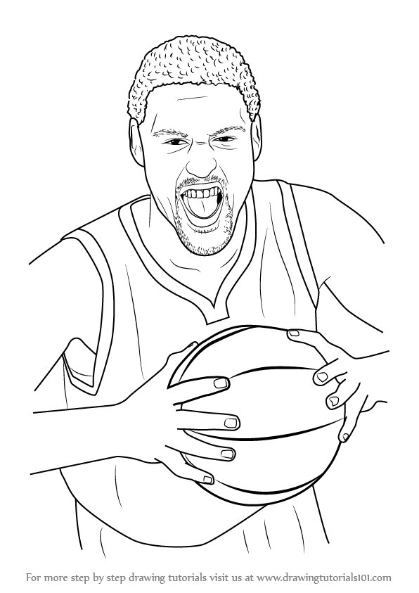 596x843 How To Draw Klay Thompson Printable Step By Step Drawing Sheet