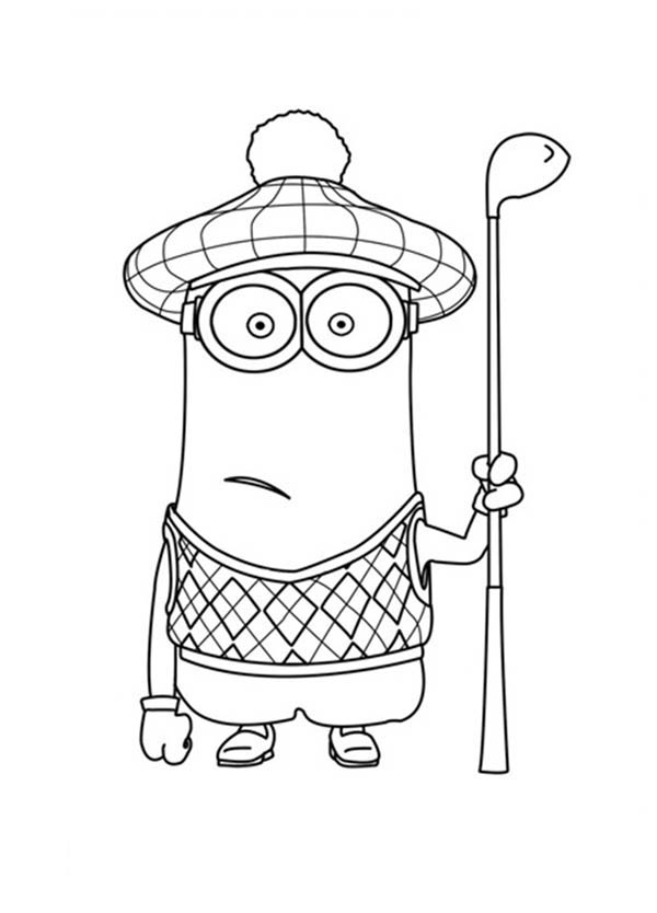 600x834 Kevin The Minion As Golf Player In Despicable Me Coloring Page