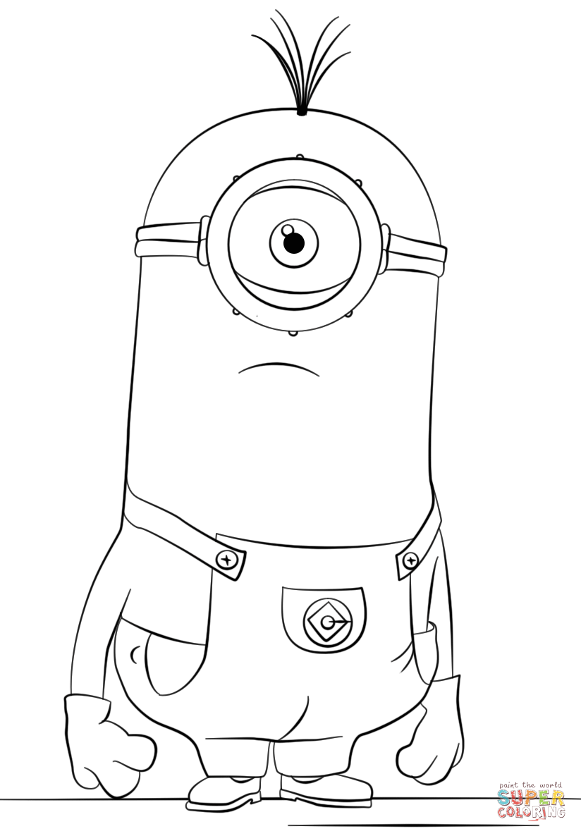 824x1186 One Eyed Minion Tim Coloring Page Free Printable Coloring Pages