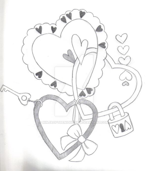 600x695 Heart Lock And Key By Ninjaofthenight64