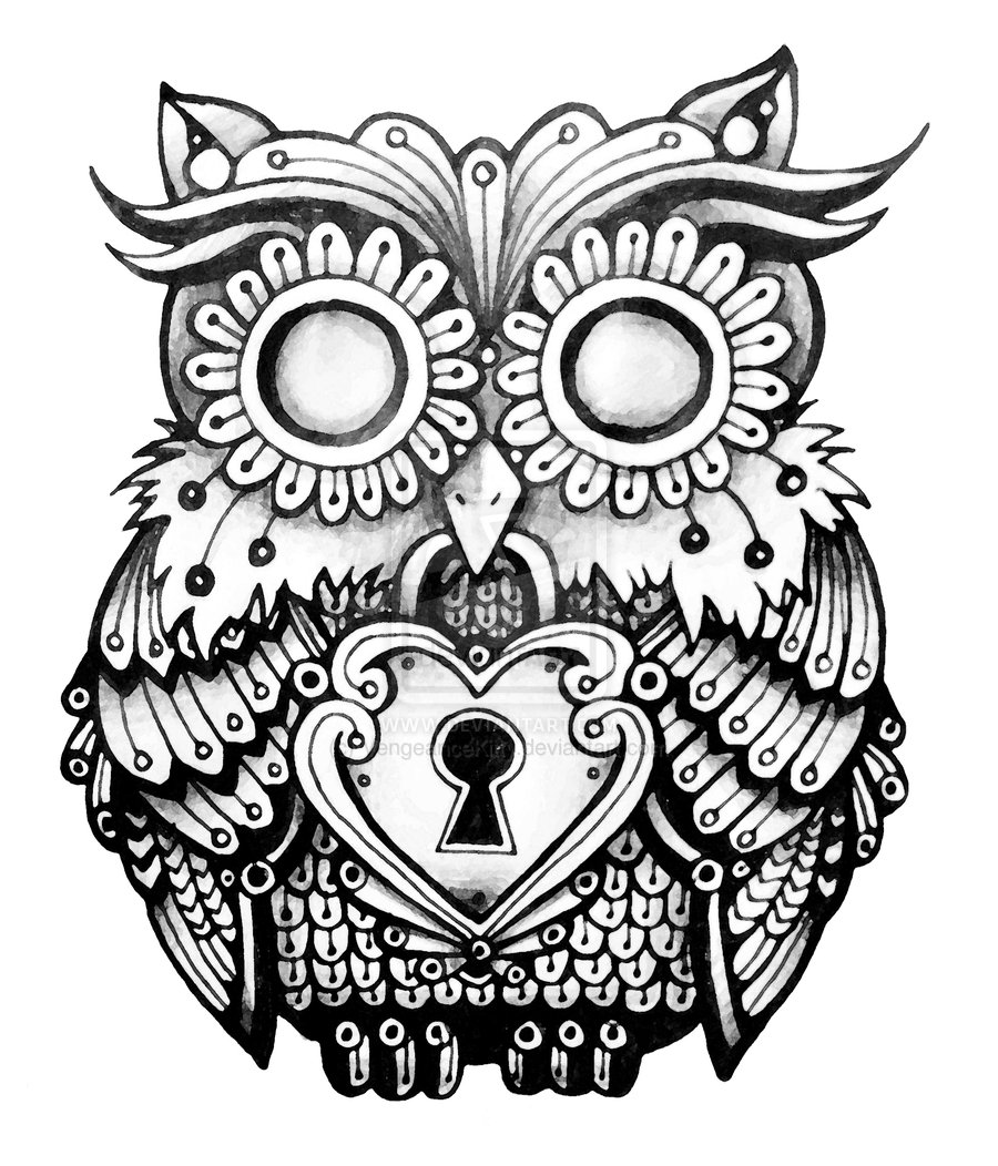 900x1052 Amazing Owl Lock Tattoos
