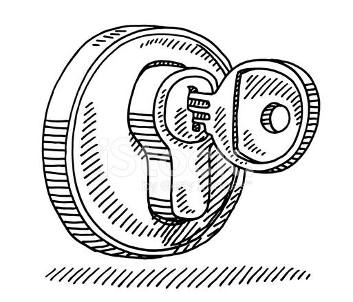 513x439 Key Lock Drawing Stock Vector