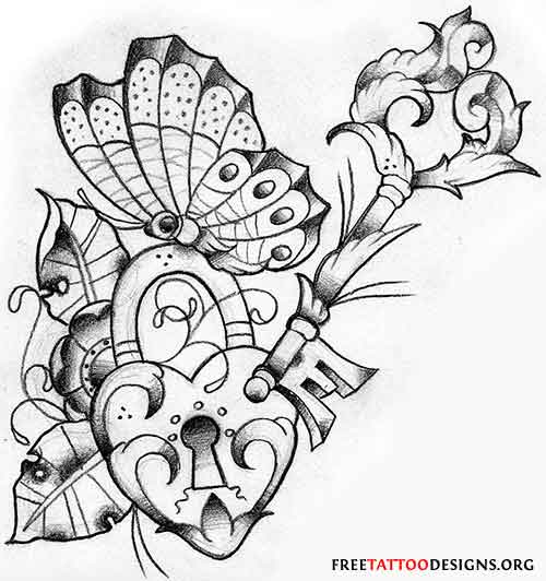 500x532 Lock Heart Key And Butterfly Tattoo Design