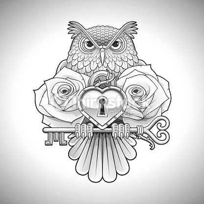 416x416 Nice Rose Flower Amazing Owl Lock Key Tattoo