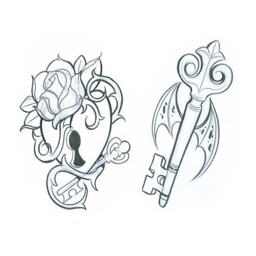500x500 Simple Lock Key Outline Fabulous Tattoo Graphic Design