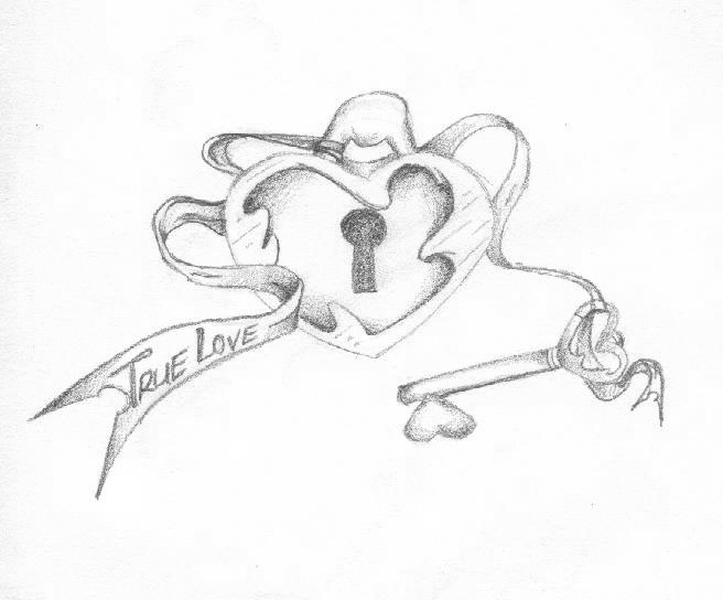 656x544 Heart Lock Coloring Pages Tattoo Drawings