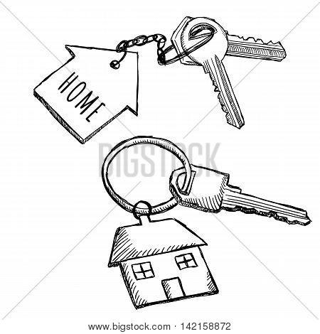 450x470 House Keychain Doodles. Vector Amp Photo Bigstock