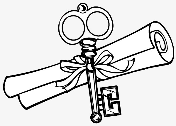 600x429 Roll With The Key Line Drawing, Unlock, Ribbon, Completion Png