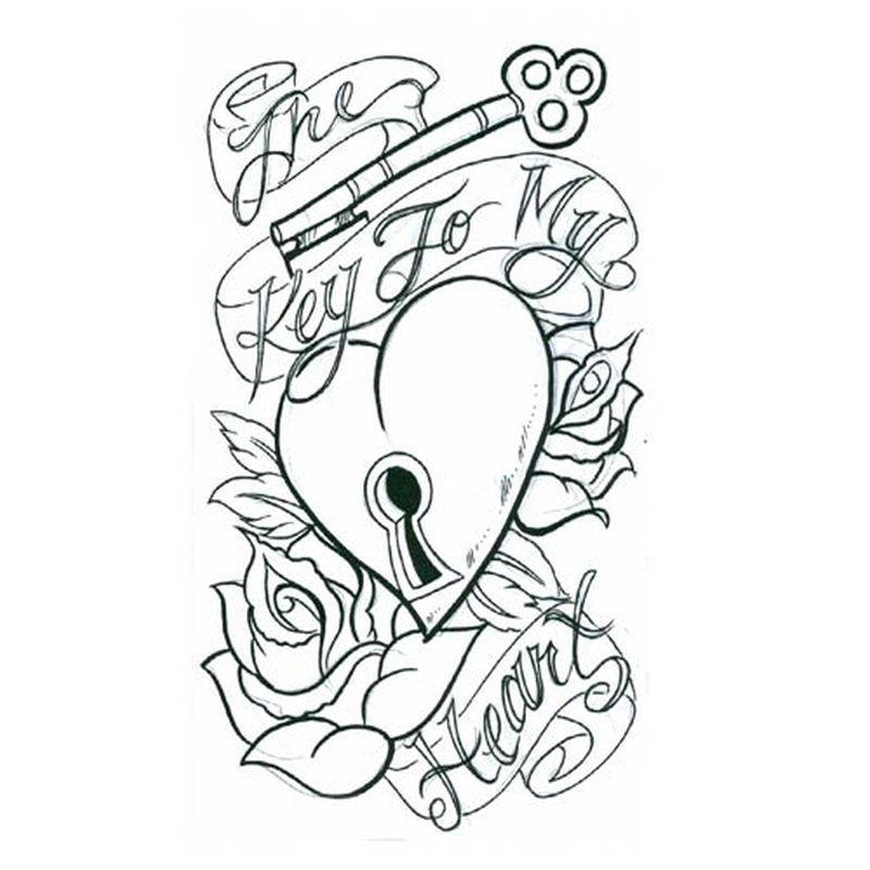 800x800 Collection Of The Key To My Heart Tattoo Sketch