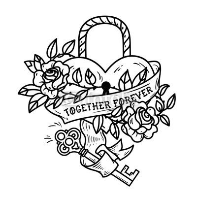 400x400 Heart Shaped Lock. Tattoo Heart Under Lock And Key Buy Photos