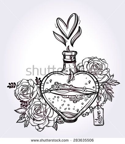409x470 Love Potion Hand Drawn Magic Elegant Heart Shaped Bottle