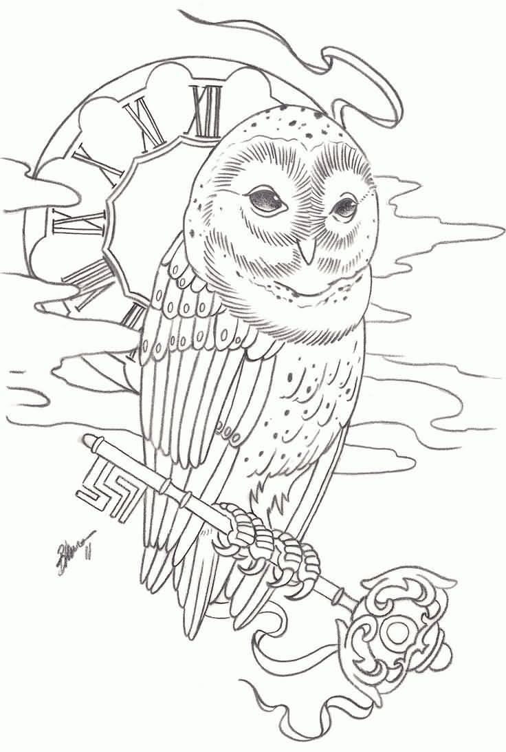 736x1093 Owl Clock With Key Tattoo Stencil