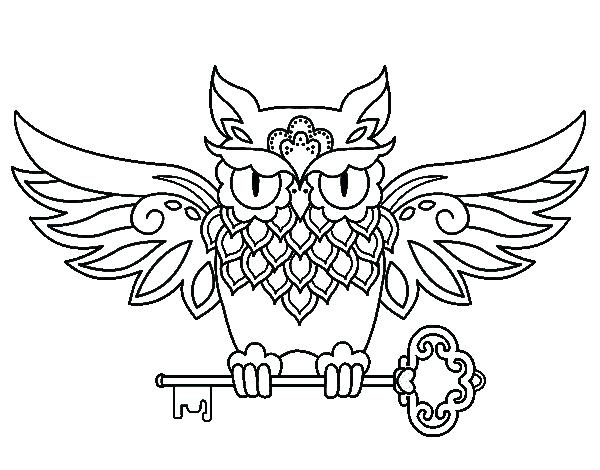 600x470 Tattoo Coloring Books 46 In Addition To Owl With Key Tattoo
