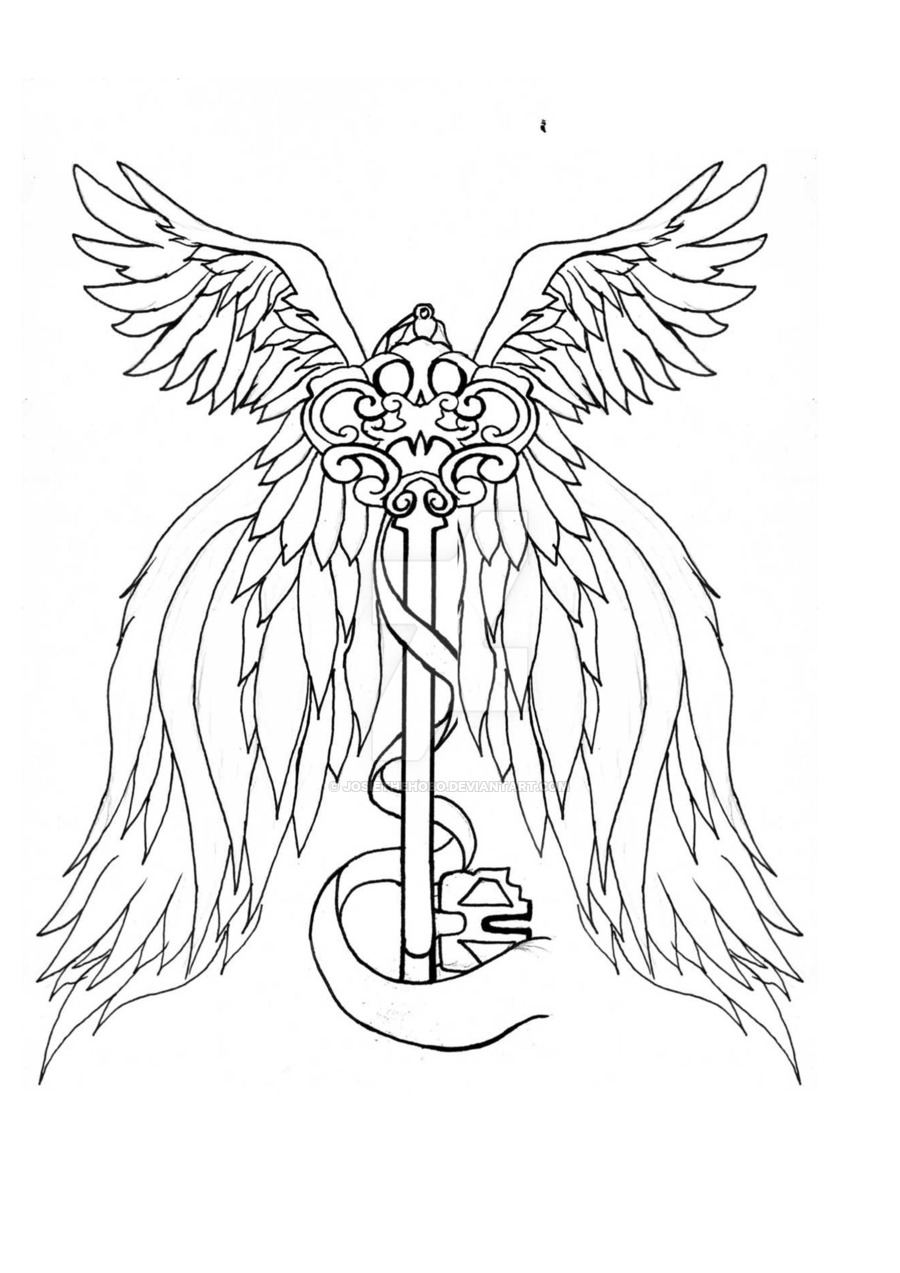 900x1273 Wing And Key Tattoo By Josiethehobo