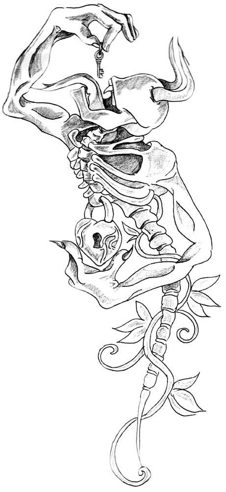 460x1000 Lock And Key Heart Tattoo Designs