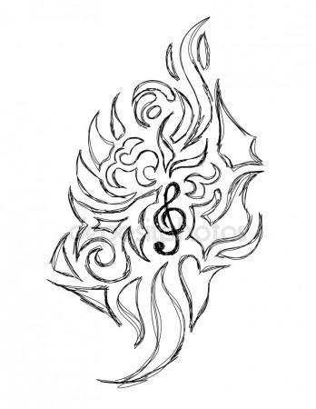 348x450 Violin Key Tattoo Stock Vector Lindwa