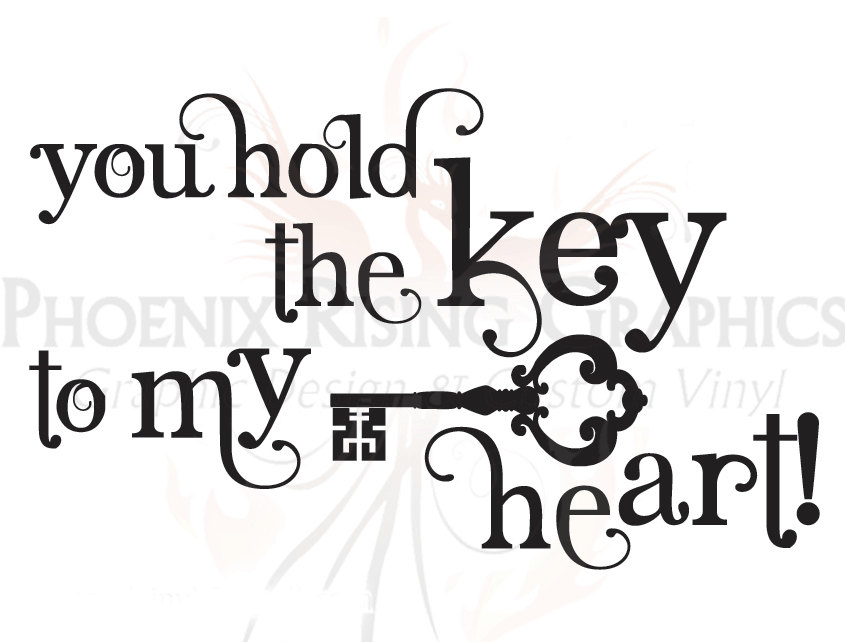 845x642 Key To My Heart Quote Vinyl Decal 11x6.75