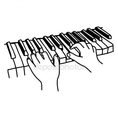 450x450 Closeup Hands Playing The Keyboard Or Piano