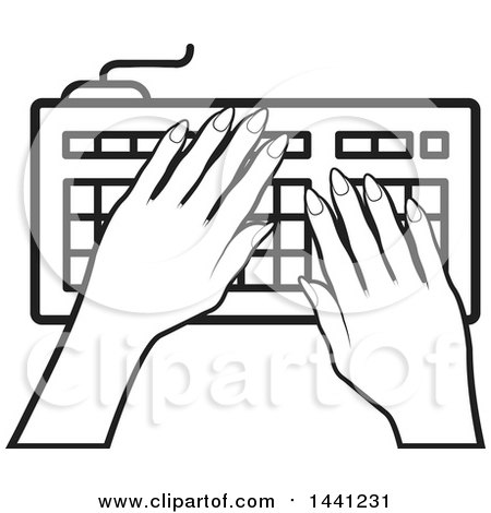 450x470 Clipart Of A Black And White Hands Typing On A Computer Keyboard
