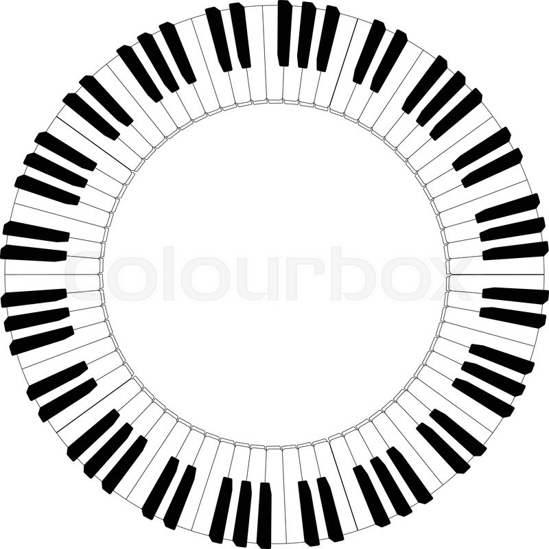 800x800 Round Piano Keyboard Frame In Black And White Stock Vector