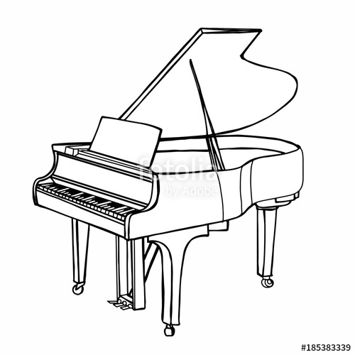500x500 Realistic Instrument Cartoon Illustration Drawing Piano Stock
