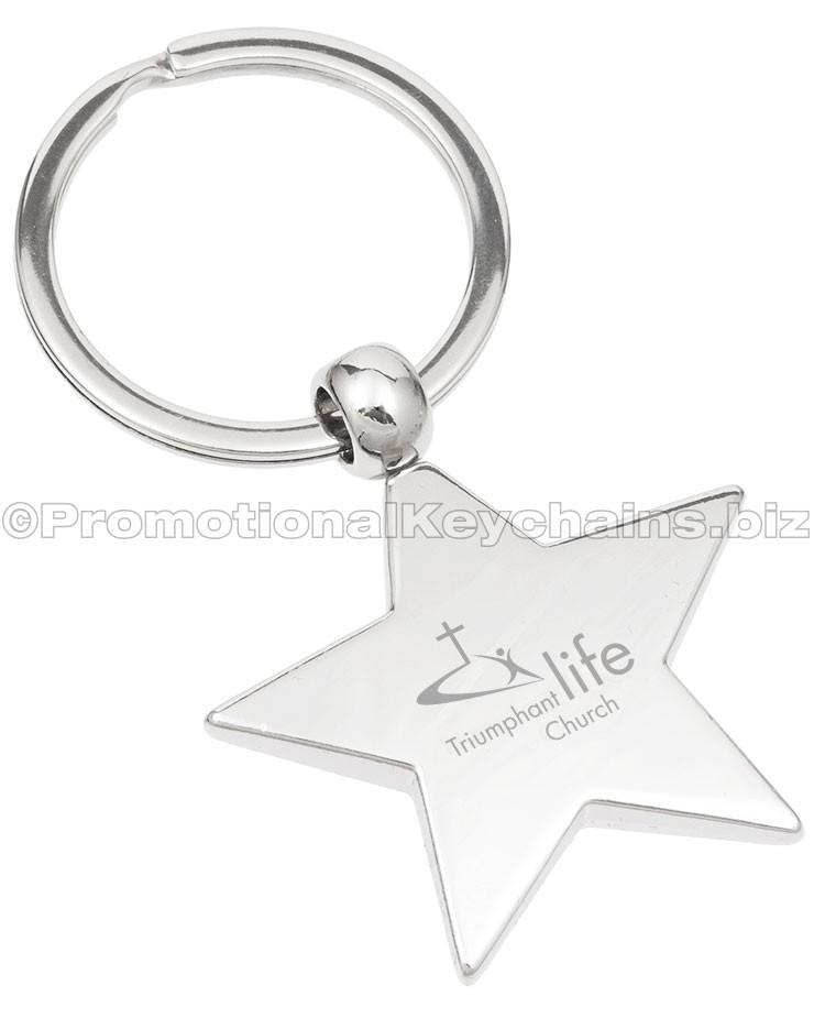 740x925 Classic Star Polished Metal Keychains Custom Logo Engraved