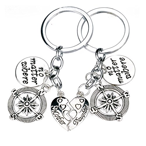 500x500 No Matter Where Mother Daughter Love Forever Keychain Bff Best