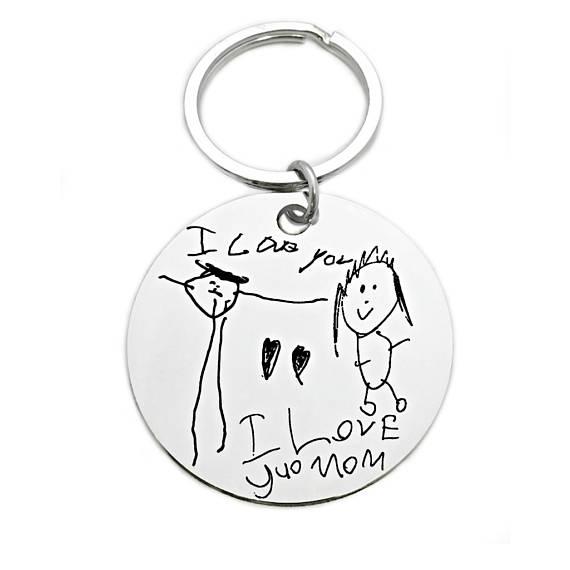 570x570 Personalized Children's Artwork Keychain Child'S