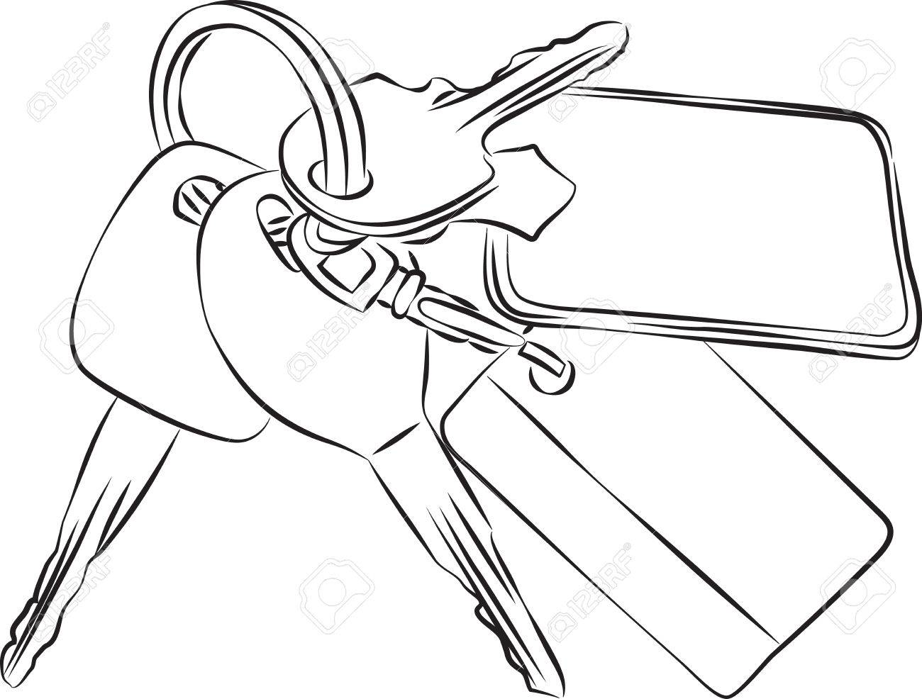 1300x986 Sketched Line Drawing Of A Set Of Keys On A Keyring Or Keychain