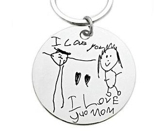 340x270 Your Child's Drawing As Keychain Custom Handmade Titanium