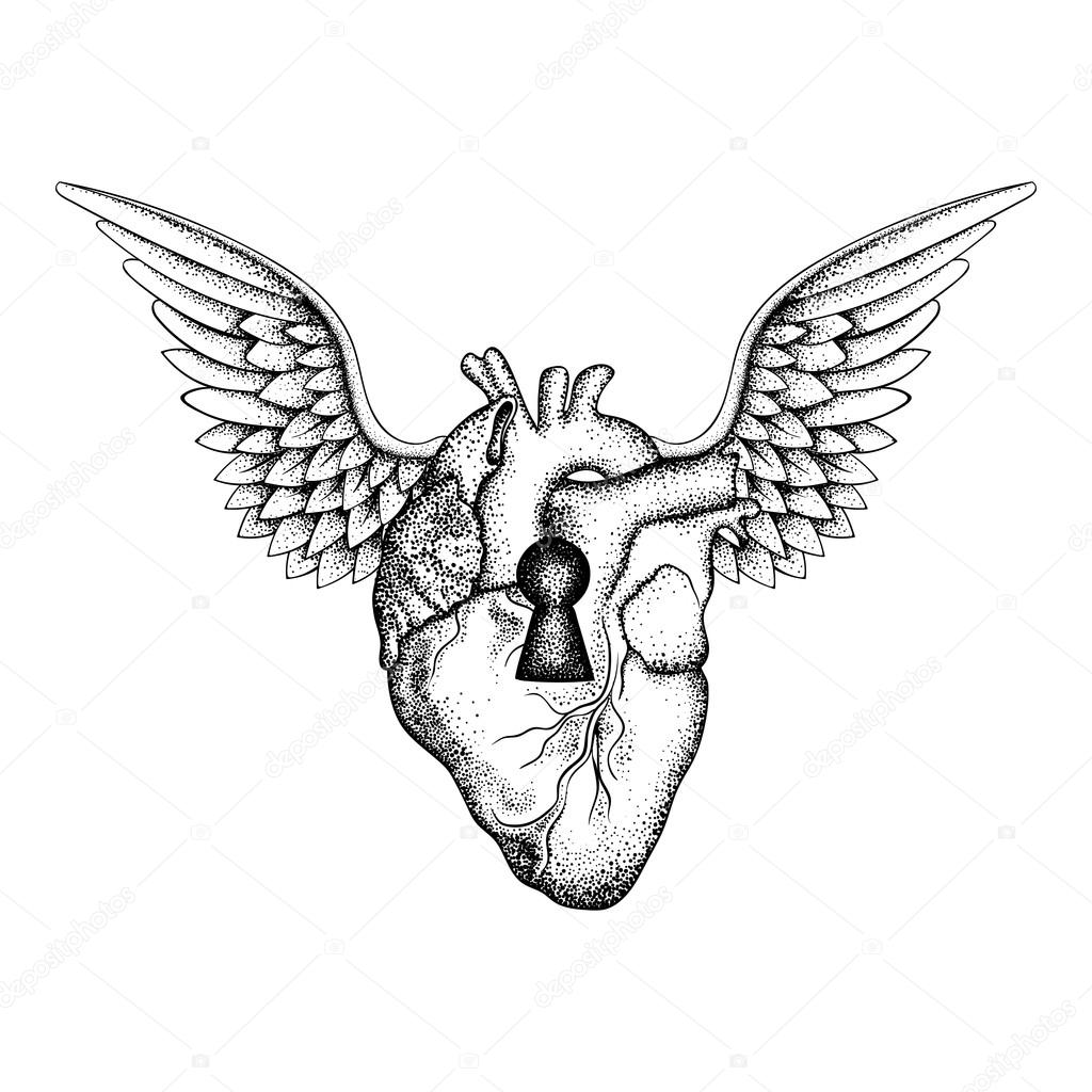 1024x1024 Hand Drawn Elegant Anatomic Human Heart With Wings And Keyhole