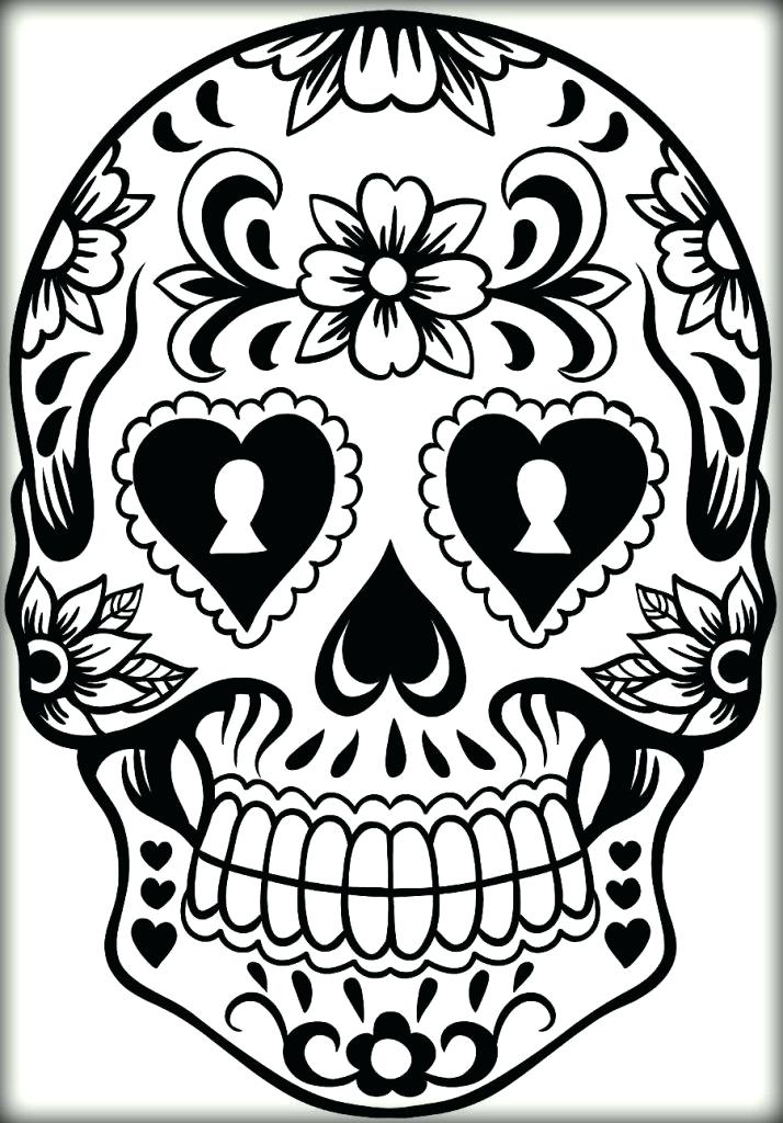 714x1024 Key Hole Sugar Skull Coloring Pages Keyhole Printable Sheets