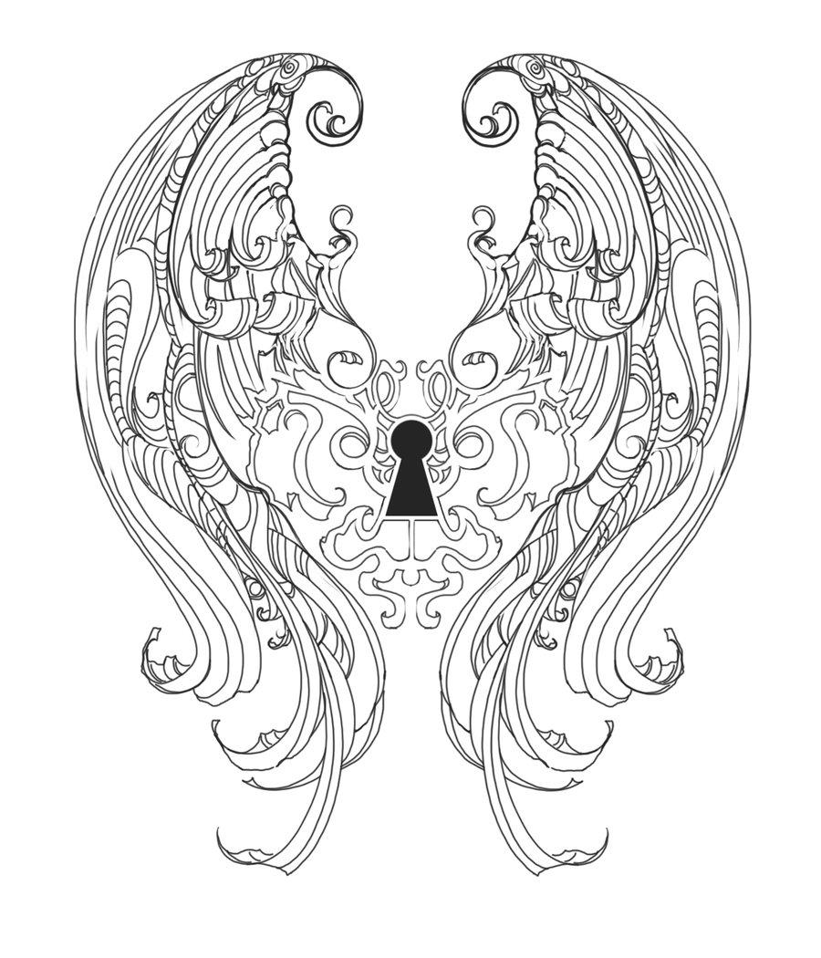 900x1050 Keyhole Wings Tatt Design By On @