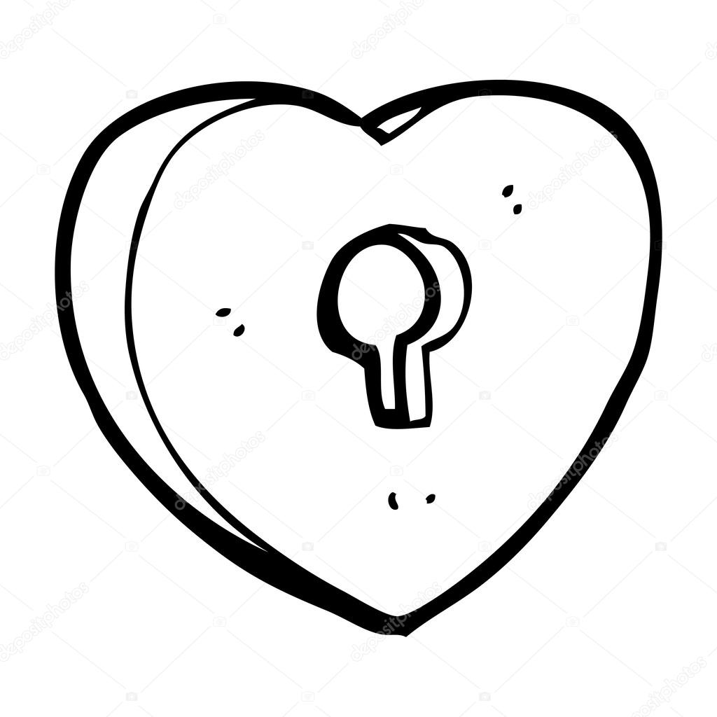 1024x1024 Cartoon Heart With Keyhole Stock Vector Lineartestpilot