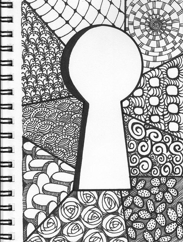 606x800 Keyhole Zentangle Doodle Doodles, Zentangles And Drawings
