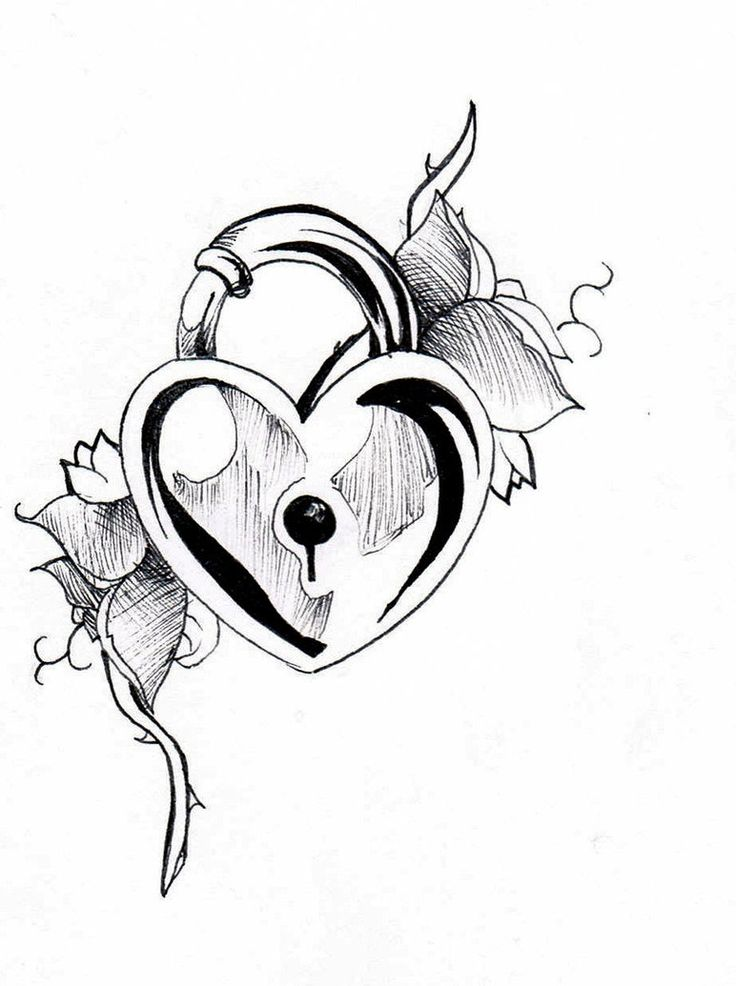 736x986 Collection Of Black And White Heart Shaped Lock And Key Tattoo